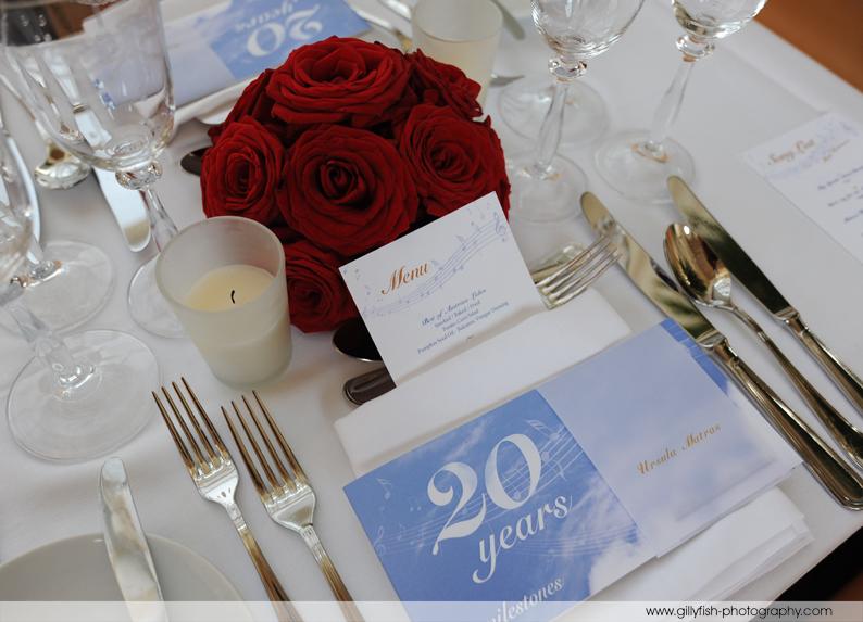 Tischdeko mit Milestone-Broschüre